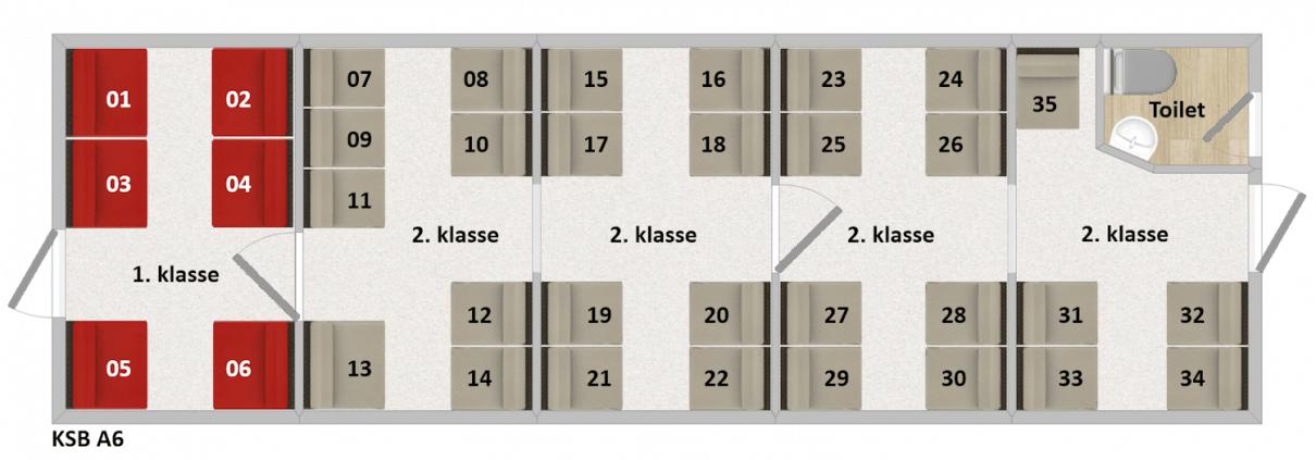 KSB A6 Siddepladser